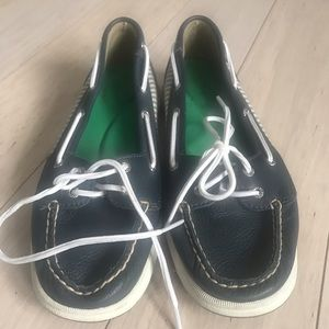 Women's blue, gray and white Sperry's